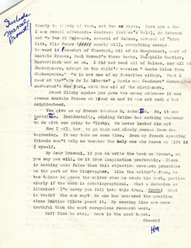 "Important letter from Miller to Brassaï, pointing out errors in ""Henry Miller the Paris Years"" ..."