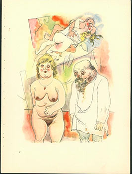 Pappi und Mammi. Daddy and Mommy. (1922) Aquarell Plate No. V from Ecce Homo. Originalausgabe....