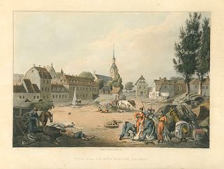 View of the Grimma Suburb, Leipsic (Leipzig) (Napoleonic Wars), Original printing. Robert Bowyer