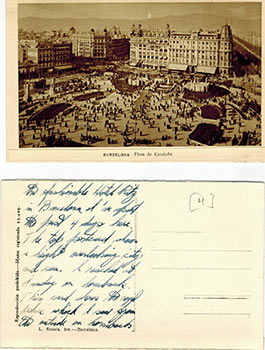 Photographic view postcards of Barcelona with manuscript text verso. Lucien Édouard Roisin...