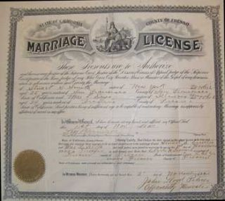 Marriage license for Stuart Smith and Mae Deyo. County of Fresno. 1911. County of Fresno