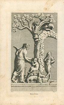 Engraving of a woman feeding a child with a baby. Satyr and Sheep at a Tree. Pietro Bellori, 1613...
