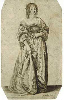 "Figure of a Lady Standing (""Lady after Van Dyck."" Original etching.). Wenceslaus Hollar, after..."