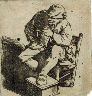 The Smoker. (Original etching). Cornelis Bega, 1632 - 1664