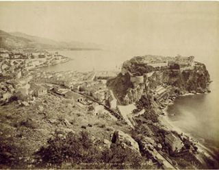 Panorama de la Principauté de Monaco. Vintage photograph. 19th Century French Photographer: NU