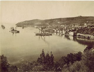 Env. de Nice. La Rade de Villefranche. Vintage photograph. 19th Century French Photographer: ND