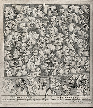 Characters & Caricaturas. Original etching. William Hogarth