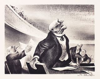 The Opposition. Signed lithograph. William Gropper