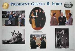 "Limited Edition Broadside ""President Gerald R. Ford"" (with photographs of Helmut Schmidt, Queen..."