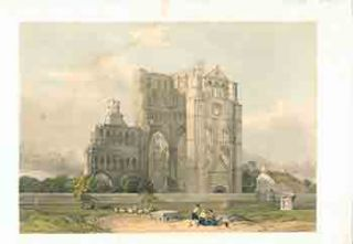 Kelso Abbey from Scotland Delineated. David After. William Simpson Roberts, lithographer