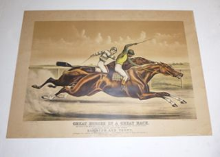 """Great Horses in a Great Race """"The Finish in The Great Match Race For $ 5.000. A Side and $ 5.000. Added Money One Mile and a Quarter...At Sheepshead Bay, N.Y. June 25th 1890...Between Salvator and Tenny. J.B. Haggin's Ch. c. Salvator by Prince Charlie Murphy...1. D.T. Pulsifer's B.c. Tenny by Rayon d'Or...Garrison 2. Won by a Neck Only...Time 2:05. First edition."""