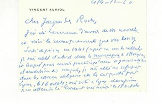 Autograph card from Vincent Auriol to Vincent to Jacques Des Roches, (pseudonym of Jean-Gabriel...
