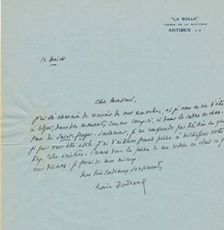 Autograph letter and card from Louis Bertrand to Vincent to Jacques Des Roches, (pseudonym of...