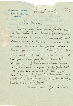 Letter from Denys Puech to Vincent to Jacques Des Roches, (pseudonym of Jean-Gabriel Vacheron)....