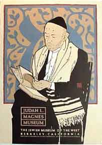 Judah L. Magnes Museum [poster].[Man in tales {prayer shawl} and yarmulke {skull cap} reading a...