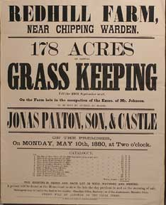 178 Acres of Capital Grass Keeping. Redhill Farm, near Chipping Warden [original auction poster]....