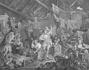 Strolling Actresses Dressing in a Barn, a plate from The Works of William Hogarth from the...