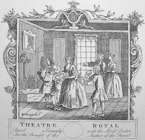 Theatre, Inn, and Backsword & Quarterstaff Exhibition, a plate from The Works of William Hogarth...