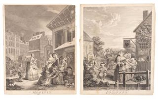 The Four Times of the Day. 4 Plates. William Hogarth