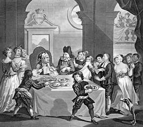 Sancho at the Feast Starved by His Physician, a plate from The Works of William Hogarth from the...