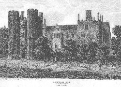 Catledge Hall as it stood in 1800, Cambridgeshire. after a. Byrne after Thompson, Harraden