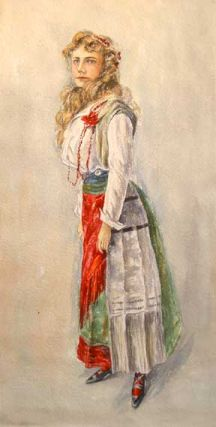 Girl in a Traditional Hungarian Dress. Banziger
