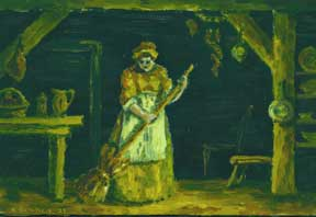 Untitled Oil (Impressionist Housemaid). Allen Bennett, a. k. a. Allen Pencovic