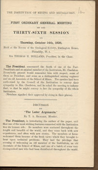 First Ordinary General Meeting of the Thirty-Sixth Session, Thursday, Oct. 14, 1926. The Later...