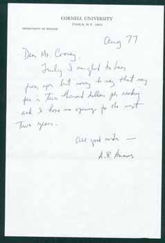 Autograph Note. A. R. Ammons