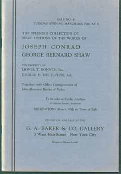 The Splendid Collection of First Editions of the Works of Joseph Conrad George Bernard Shaw. G....