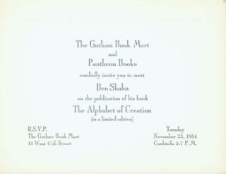 The Gotham Book Mart and Pantheon Books cordially invite you to meet Ben Shahn on the publication...