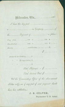 Blank Receipt From the Civil War Era, i.e. 1860s. J. O. Culver, U. S. Army Paymaster