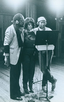 Photograph of Sylvester in Recording Studio with backing vocalists. Saul Zaentz Company, CA Berkeley