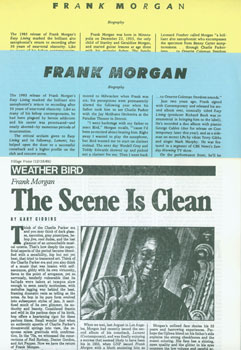 Frank Morgan: Biographical Press Releases for Contemporary Records. Contemporary Records, Los...