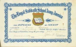 The Loyal Sabbath School Army of America Diploma of Merit, Awarded to Frances Myaltway. For...