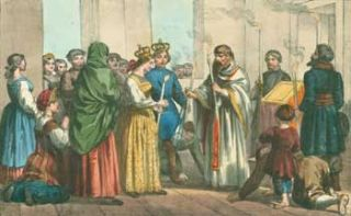 Cerimonie Nuziali in Russia (Wedding Ceremony in Russia). 19th Century Italian Lithographer
