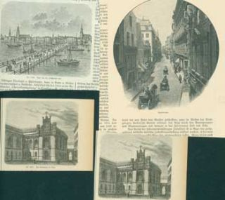 Set Of Three Small Prints of Wood Engravings of Riga, 1878 - 1901. 19th Century German Engravers