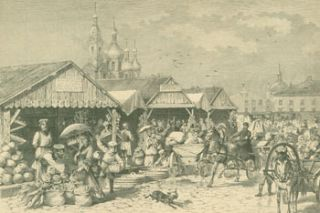 St. Petersburger Marktscene (St. Petersburg market scene). A. Baumann, R. Brendamour, after, engrav
