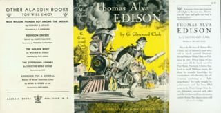 Dust Jacket only for Thomas Alva Edison. G. Glenwood Clark, Millard McGee, illustr