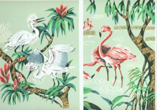 Heron And Flamingo (Hand-Made Prints). Donald Art Co., Book Publishers Distributing Co, Ohio...