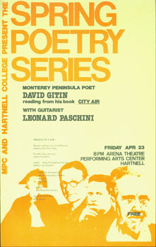 MPC And Hartnell College Present The Spring Poetry Series. Monterey Peninsula Poet David Gitin...