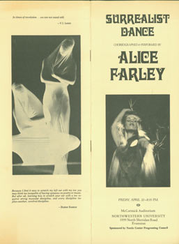 Surrealist Dance. April 22, 1977, McCormick Auditorium, Northwestern University. Alice Farley,...