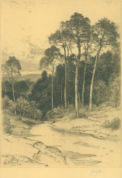 Thames Valley Landscape, Stream Flowing Through Forest). RSA John Fullwood, 1854 - 1931
