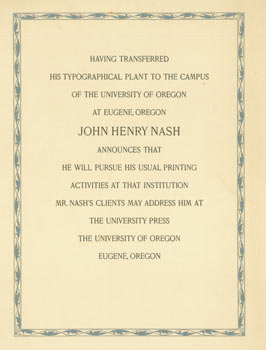Having Transferred His Typographical Plant to the Campus of the University of Oregon at Eugene,...