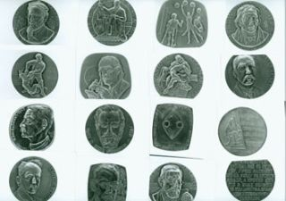 20 Black and White Photographs of Bronze Medals of Nobel Prize Winners: Louis Pasteur, Jules...