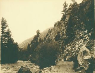 Black and White Photograph, rugged creek with steep redwood cliffs (Russian River, California?)....