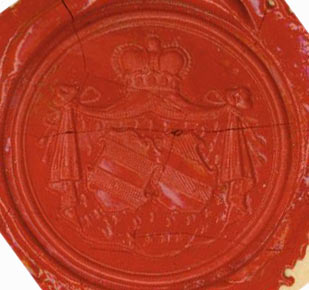 Stamped Wax Seal for Grafin (Countess) zu Ysenburg Budingen, von Schonburg Waldenburg. von...