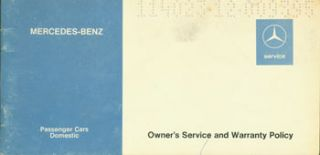 Mercedes Benz Service. Owner's Service and Warranty Policy. Daimler-Benz AG, Germany Stuttgart