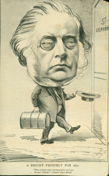 A Bright Prospect For 1872. Caricature of John Bright, January 24, 1872. The Hornet, UK London