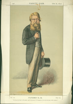 Statesmen, No. 65. Sir Stafford Northcote, Bt. October 8, 1870. Vanity Fair, Day Vincent Brooks,...